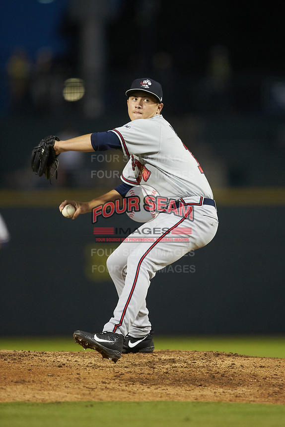 Rome Braves starting pitcher Victor Vodnik (11) in action against the Columbia Fireflies at Segra Park on May 13, 2019 in Columbia, South Carolina. The Fireflies defeated the Braves 6-1 in game two of a doubleheader. (Brian Westerholt/Four Seam Images)