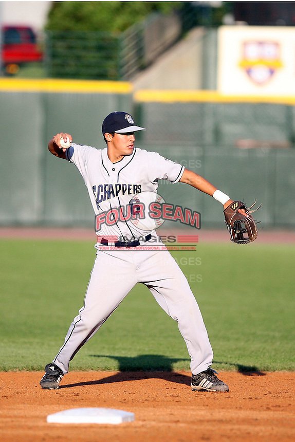 June 20th 2008:  Second baseman Jason Rodriguez of the Mahoning Valley Scrappers, Class-A affiliate of the Cleveland Indians, during a game at Frontier Field in Rochester, NY - home of the Rochester Red Wings.  Photo by:  Mike Janes/Four Seam Images