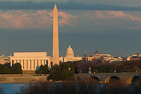 The Lincoln Memorial, Washington Monument, and US Capitol building at sunset as seen from Arlington, Virginia