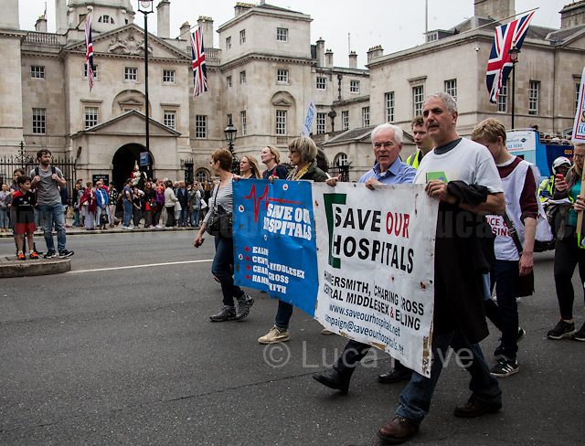 London, 04/06/2016. Today, hundreds of people, including doctors, student nurses, midwives, junior doctors and other healthcare professionals marched from the Saint Thomas Hospital to the Department of Health in Whitehall to protest against the Conservative Government's plan to scrap bursaries for nursing and midwifery students from 2017. The demonstration was organised by the &quot;NHS Bursary Cuts Forum&quot; and supported by trade unions and other organizations fighting against the plan to privatise the NHS (National Health Service).<br />