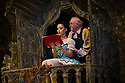 London, UK. 22.07.2014. English National Ballet in rehearsals of Coppelia at the London Coliseum. Swanilda is danced by Shiori Kase, Franz by Yonah Acosta and Dr Coppelius by Michael Coleman. Picture shows: Michael Coleman (Dr Coppelius) and Jung ah Choi (Coppelia Doll). Photograph © Jane Hobson.