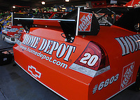 Mar 31, 2007; Martinsville, VA, USA; The rear wing on the car of Nascar Nextel Cup Series driver TOny Stewart (20) during practice for the Goody's Cool Orange 500 at Martinsville Speedway. Martinsville marks the second race for the new car of tomorrow. Mandatory Credit: Mark J. Rebilas..