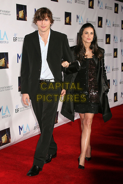 ASHTON KUTCHER & DEMI MOORE.Mentor LA's Promise Gala Honoring Tom Cruise at 20th Century Fox Studios, Century City, California, USA..March 22nd, 2007.full length black jacket married husband wife suit dress sequins sequined satin coat arms linked .CAP/ADM/BP.©Byron Purvis/AdMedia/Capital Pictures