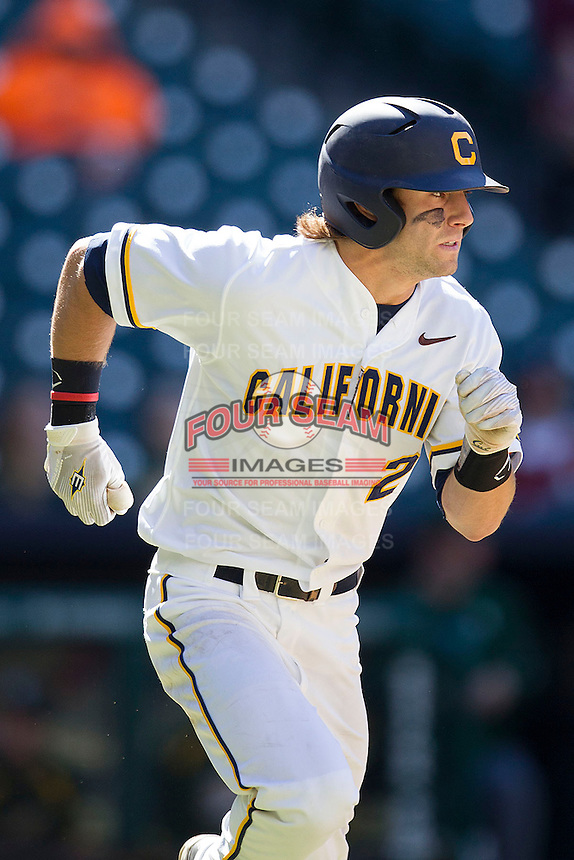 California Golden Bears outfielder Derek Campbell #2 runs to first base during the NCAA baseball game against the Baylor Bears on March 1st, 2013 at Minute Maid Park in Houston, Texas. Baylor defeated Cal 9-0. (Andrew Woolley/Four Seam Images).