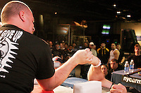 "Arm wrestlers compete at the 28th Annual Big Apple Grapple, held in New York City on March 19, 2005.  The tournament is the first in the 2005 New York Arm Wrestling Association's ""Golden Arm Series""."