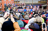 "All manner of people cheer on President-Elect Barack Obama and Vice President-Elect Joe Biden in Wilmington, Delaware, a stop on the ""Whistle Stop Tour"" of January 17th, 2009."