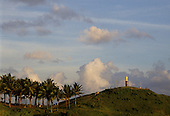 Salvador, Bahia State, Brazil. Hill with palm trees leading to a statue of Christ; Morro do Cristo, Ondina.