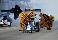 Feb. 11, 2012; Pomona, CA, USA; NHRA top fuel dragster driver Cory McClenathan during qualifying for the Winternationals at Auto Club Raceway at Pomona. Mandatory Credit: Mark J. Rebilas-
