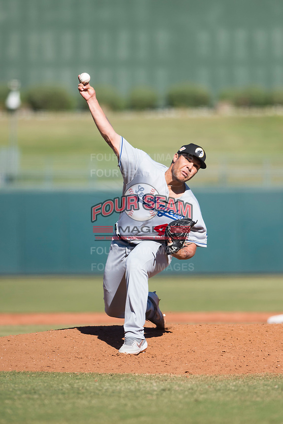 Glendale Desert Dogs relief pitcher Andre Scrubb (46), of the Los Angeles Dodgers organization, delivers a pitch during an Arizona Fall League game against the Surprise Saguaros at Surprise Stadium on November 13, 2018 in Surprise, Arizona. Surprise defeated Glendale 9-2. (Zachary Lucy/Four Seam Images)