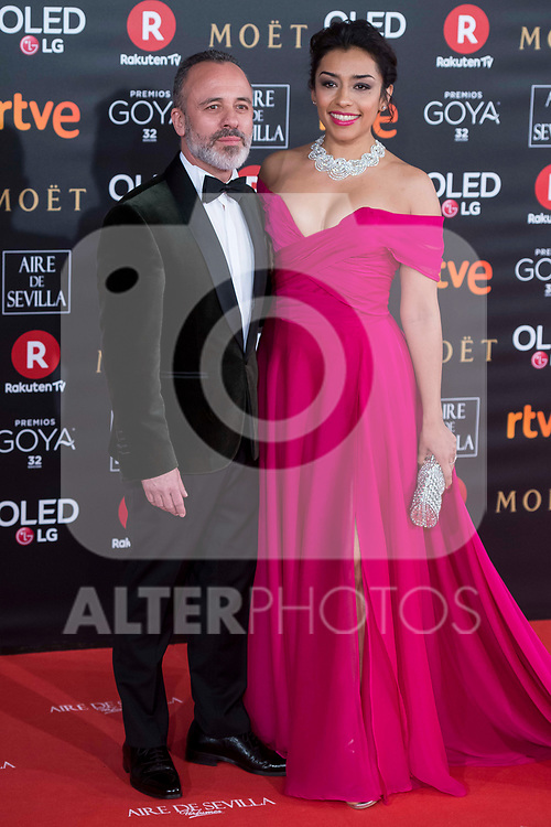 Javier Gutierrez and Adriana Paz attends red carpet of Goya Cinema Awards 2018 at Madrid Marriott Auditorium in Madrid , Spain. February 03, 2018. (ALTERPHOTOS/Borja B.Hojas)