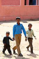 Indian schoolboys attending school at Doeli in Sawai Madhopur, Rajasthan, Northern India
