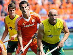 The Hague, Netherlands, June 15: Marcel Balkestein #5 of The Netherlands and Glenn Turner #4 of Australia look on during the field hockey gold match (Men) between Australia and The Netherlands on June 15, 2014 during the World Cup 2014 at Kyocera Stadium in The Hague, Netherlands. Final score 6-1 (2-1)  (Photo by Dirk Markgraf / www.265-images.com) *** Local caption ***