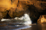 La Jolla Cliff basked in warm dusk sunlight, San Diego California.