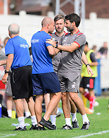 Gainsborough Trinity manager Liam King, left, Lincoln City's assistant manager Nicky Cowley, centre, and Lincoln City manager Danny Cowley<br /> <br /> Photographer Chris Vaughan/CameraSport<br /> <br /> Football Pre-Season Friendly (Community Festival of Lincolnshire) - Gainsborough Trinity v Lincoln City - Saturday 6th July 2019 - The Martin & Co Arena - Gainsborough<br /> <br /> World Copyright © 2018 CameraSport. All rights reserved. 43 Linden Ave. Countesthorpe. Leicester. England. LE8 5PG - Tel: +44 (0) 116 277 4147 - admin@camerasport.com - www.camerasport.com