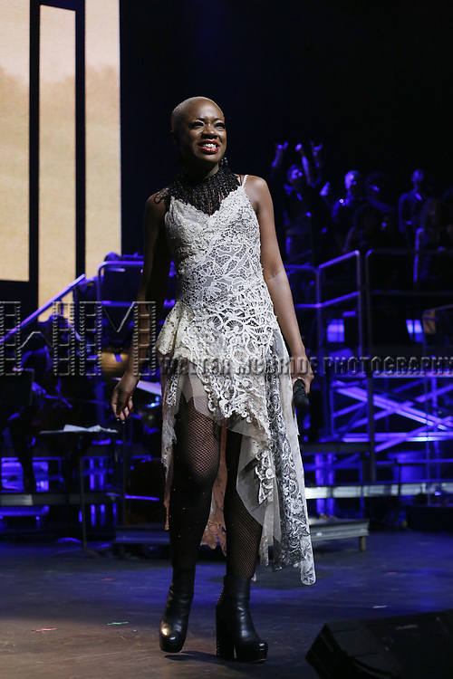 """Kimberly Nichole during the Broadway Opening Night Performance Curtain Call of  """"Rocktopia"""" at The Broadway Theatre on March 27, 2018 in New York City."""