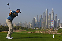 Nicolas Colsaerts (BEL) on the 8th tee during Round 2 of the Omega Dubai Desert Classic, Emirates Golf Club, Dubai,  United Arab Emirates. 25/01/2019<br /> Picture: Golffile | Thos Caffrey<br /> <br /> <br /> All photo usage must carry mandatory copyright credit (© Golffile | Thos Caffrey)