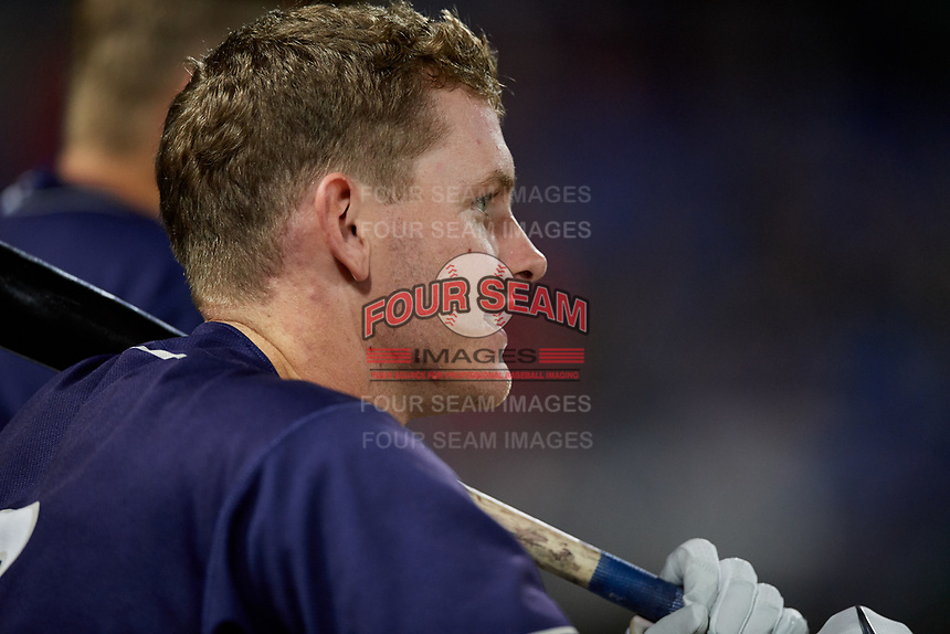 Binghamton Rumble Ponies designated hitter Will Toffey (16) in the dugout during a game against the Portland Sea Dogs on August 31, 2018 at NYSEG Stadium in Binghamton, New York.  Portland defeated Binghamton 4-1.  (Mike Janes/Four Seam Images)