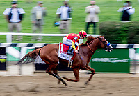 ELMONT, NY - JUNE 09: Justify  #1, ridden by Mike Smith, wins the Belmont Stakes on Belmont Stakes  Day at Belmont Park on June 9, 2018 in Elmont, New York. (Photo by Sydney Serio/Eclipse Sportswire/Getty Images)