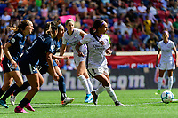 HARRISON, NJ - SEPTEMBER 29: Sydney Leroux #2 of the Orlando Pride passes the ball during a game between Orlando Pride and Sky Blue FC at Red Bull Arena on September 29, 2019 in Harrison, New Jersey.