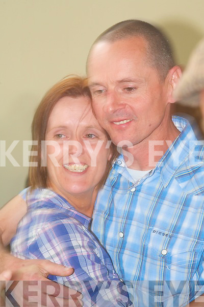 The new Sinn Fe?in councilor for Listowel Tom Barry with his wife Trevann at the Listowel counting centre on Saturday. at the Listowel Town Council Elections counting centre on Saturday.