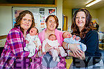 New years babies born at Tralee General Hospital  From left: Siobhan Flynn Monavalley, Tralee with Daniel born at 16.40, Angela Dillon Lyrecrompane and baby Louise born at 15.35 and Marie Gallagher, Currow with Baby Jacob born at 19.50.
