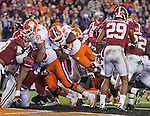 Clemson running back Wayne Gallman dives into the end zone in the second half of the 2017 College Football Playoff National Championship against Alabama in Tampa, Florida on January 9, 2017.  Clemson defeated Alabama 35-31. Photo by Mark Wallheiser/UPI