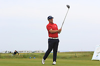 Ben Chamberlain (WAL) on the 1st tee during Round 1of the Flogas Irish Amateur Open Championship 2019 at the Co.Sligo Golf Club, Rosses Point, Sligo, Ireland. 16/05/19<br /> <br /> Picture: Thos Caffrey / Golffile<br /> <br /> All photos usage must carry mandatory copyright credit (© Golffile | Thos Caffrey)
