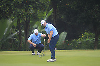 Paul Dunne and Alex Noren (Europe) on the 6th green during the Saturday Foursomes of the Eurasia Cup at Glenmarie Golf and Country Club on the 13th January 2018.<br /> Picture:  Thos Caffrey / www.golffile.ie