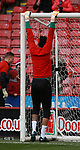 Jamal Blackman of Sheffield Utd able to touch the crossbar with his feet still touching the ground during the Championship match at Bramall Lane Stadium, Sheffield. Picture date 30th December 2017. Picture credit should read: Simon Bellis/Sportimage