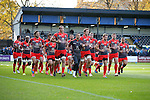 Toulouse warm up before kick off - European Rugby Champions Cup - Bath Rugby vs Toulouse - Recreation Ground Bath - Season 2014/15 - October 25th 2014 - <br /> Photo Malcolm Couzens/Sportimage