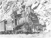 3/5 engineer's-side view of D&amp;RGW #361 at mouth of Cimarron Canyon.<br /> D&amp;RGW  Cimarron Canyon, CO  Taken by Richardson, Robert W. - 9/19/1948