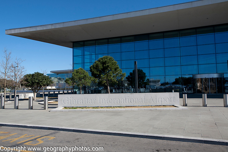 Modern architecture of airport terminal building Gibraltar international airport, British terroritory in southern Europe