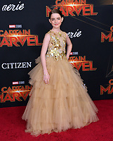 "LOS ANGELES, CA. March 04, 2019: McKenna Grace at the world premiere of ""Captain Marvel"" at the El Capitan Theatre.<br /> Picture: Paul Smith/Featureflash"