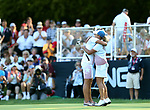 DES MOINES, IA - AUGUST 19: USA's Lexi Thompson and Cristie Kerr hug following their 4&2 win over Europe in their afternoon four-ball match Saturday at the 2017 Solheim Cup in Des Moines, IA. (Photo by Dave Eggen/Inertia)