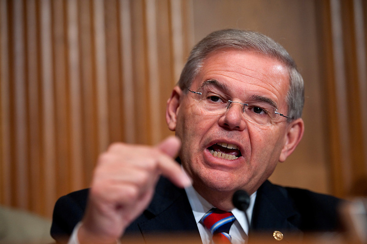 WASHINGTON, DC - May 12: Sen. Robert Menendez, D-N.J., during the Senate Finance hearing on oil and gas tax incentives. Witnesses were: John Watson, chairman and CEO of Chevron Corp.; Marvin Odum, U.S. President of Shell Oil Co.; H. Lamar McKay, chairman and president of BP America Inc.; James Mulva, chairman and CEO of ConocoPhillips; and Rex Tillerson, chairman and CEO of Exxon Mobil Corp. (Photo by Scott J. Ferrell/Congressional Quarterly)
