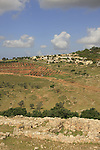 Israel, Lower Galilee. A view of Moshav Yodfat from Tel Yodfat
