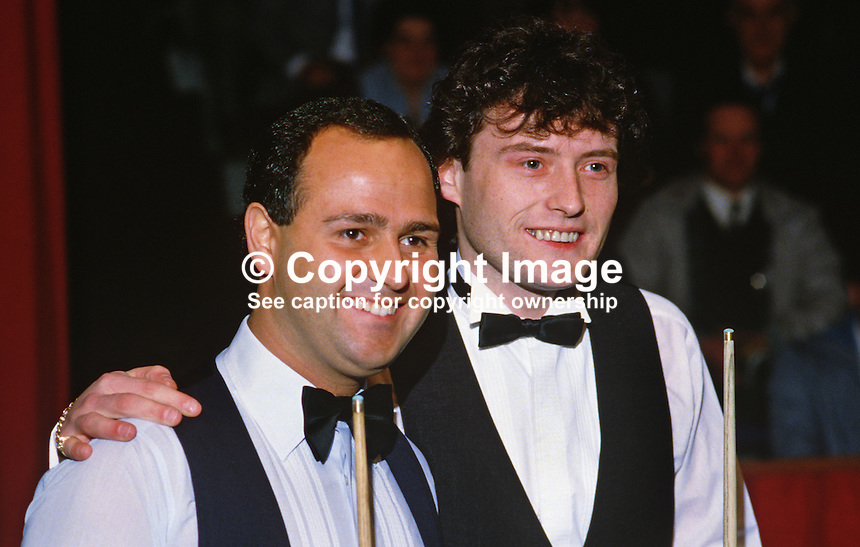 Tony Meo, left, and Jimmy White, both England, professional snooker players, Irish Masters, Goffs, Rep of Ireland, 198503000033g..Copyright Image from Victor Patterson, 54 Dorchester Park, Belfast, UK, BT9 6RJ..Tel: +44 28 9066 1296.Mob: +44 7802 353836.Voicemail +44 20 8816 7153.Skype: victorpattersonbelfast.Email: victorpatterson@mac.com.Email: victorpatterson@ireland.com (back-up)..IMPORTANT: If you wish to use this image or any other of my images please go to www.victorpatterson.com and click on the Terms & Conditions. Then contact me by email or phone with the reference number(s) of the image(s) concerned.