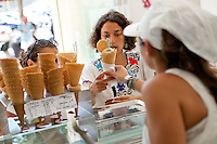 Customers buy ice cream at Le Glacier du Roy, Marseille, 16 June 2011
