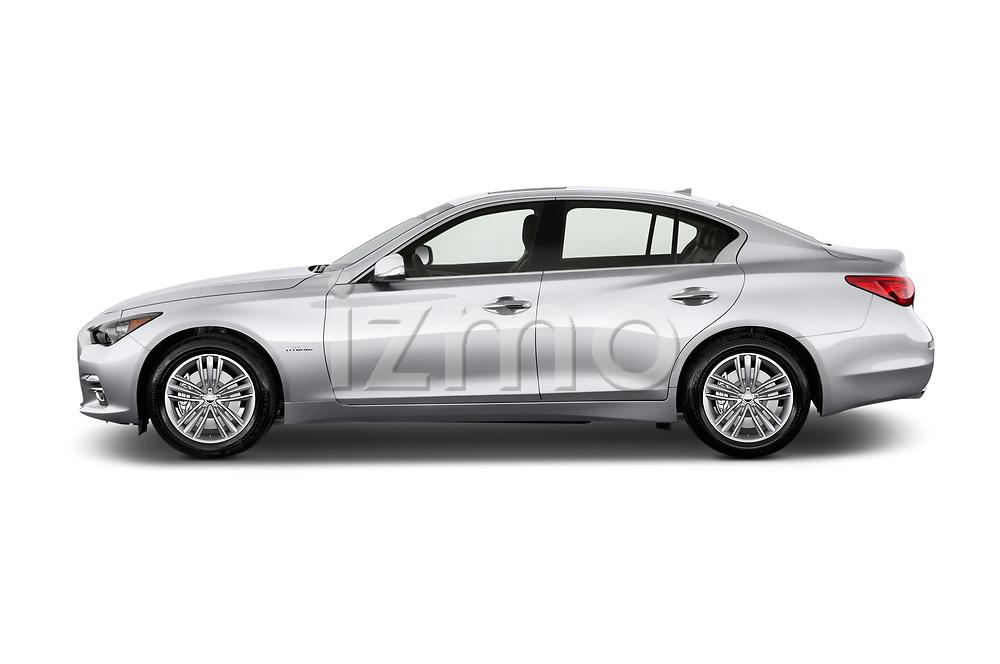 Car Driver side profile view of a 2017 Infiniti Q50 Hybrid-Premium 4 Door Sedan Side View
