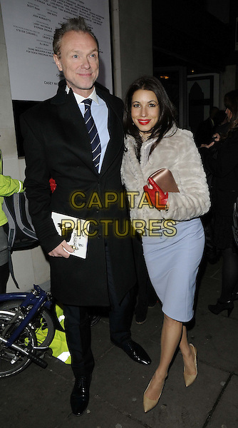 "Gary Kemp & Lauren Kemp.attended ""The Book Of Mormon""  gala performance for Red Nose Day, Prince of Wales Theatre, London, England..March 13th, 2013.full length black suit blue shirt dress white fur coat jacket red gloves beige pointy shoes married husband wife .CAP/CAN.©Can Nguyen/Capital Pictures."