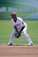 San Jose Giants second baseman Jalen Miller (2) during a California League game against the Lancaster JetHawks at San Jose Municipal Stadium on May 13, 2018 in San Jose, California. San Jose defeated Lancaster 3-0. (Zachary Lucy/Four Seam Images)