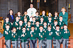 Pupils from Killarney Monastery NS who received their first Holy Communion in St Marys Cathedral on Saturday with their teachers Marie McSweeney and  Brid Kissane  and Fr Jim Lenihan