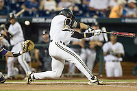 Vanderbilt Commodores outfielder Rhett Wiseman (8) swings the bat against the TCU Horned Frogs in Game 12 of the NCAA College World Series on June 19, 2015 at TD Ameritrade Park in Omaha, Nebraska. The Commodores defeated TCU 7-1. (Andrew Woolley/Four Seam Images)
