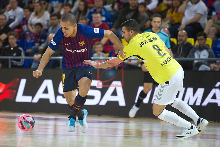 League LNFS 2018/2019 - Game 29.<br /> FC Barcelona Lassa vs Viña Albali Valdepeñas: 5-1.<br /> Ferrao vs Jose Mario.
