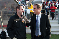 Western New York Flash head coach Aaran Lines talks with Sky Blue FC head coach Jim Gabarra. Sky Blue FC defeated the Western New York Flash 1-0 during a National Women's Soccer League (NWSL) match at Yurcak Field in Piscataway, NJ, on April 14, 2013.