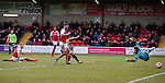 Marcus Nilsson of Fleetwood Town  (floor) directs the ball into his own net as he deflected a cross by Matt Done of Sheffield Utd  - English League One - Fleetwood Town vs Sheffield Utd - Highbury Stadium - Fleetwood - England - 5rd March 2016 - Picture Simon Bellis/Sportimage