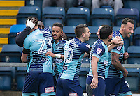 Celebrations as Adebayo Akinfenwa of Wycombe Wanderers scores his goal during the Sky Bet League 2 match between Wycombe Wanderers and Crawley Town at Adams Park, High Wycombe, England on 25 February 2017. Photo by Andy Rowland / PRiME Media Images.