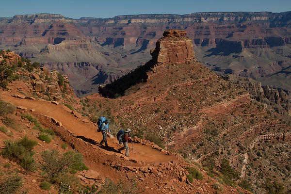 Getty Images exclusive, Hiker on the South Kaibab Trail descending Cedar Ridge, South Rim in Grand Canyon National Park, northern Arizona. .  John leads hiking and photo tours throughout Colorado. . John offers private photo tours in Grand Canyon National Park and throughout Arizona, Utah and Colorado. Year-round.
