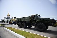 Pro-Russian militia guard the perimeter of  the Mirniy Border guard