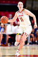 College Park, MD - NOV 29, 2017: Maryland Terrapins guard Taylor Mikesell (11) brings the ball up court during ACC/Big Ten Challenge game between Gerogia Tech and the No. 7 ranked Maryland Terrapins. Maryland defeated The Yellow Jackets 67-54 at the XFINITY Center in College Park, MD.  (Photo by Phil Peters/Media Images International)